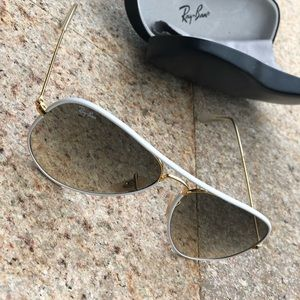 Ray Ban sunglasses. White and Gold. Never used